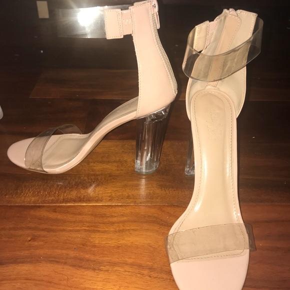 8cc74d870ff Nude, Clear Strap Heels